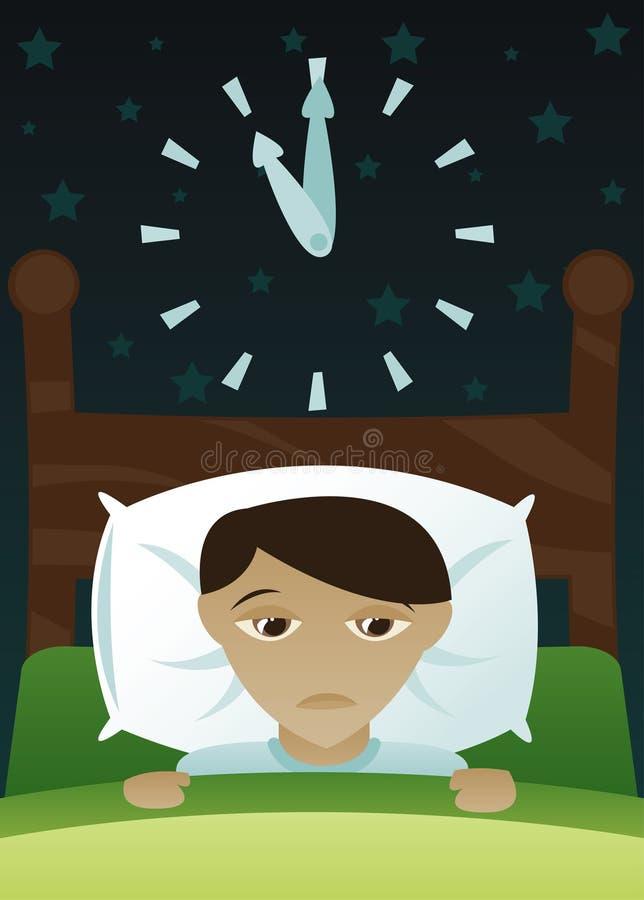 男孩获得了失眠少许s 向量例证