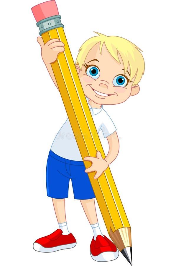 男孩藏品铅笔 皇族释放例证