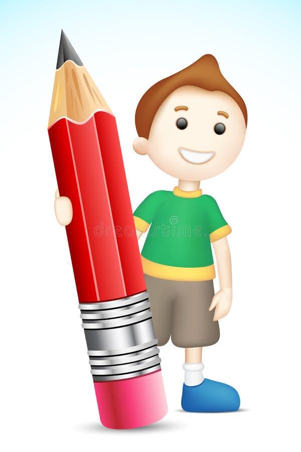 男孩藏品铅笔 库存例证