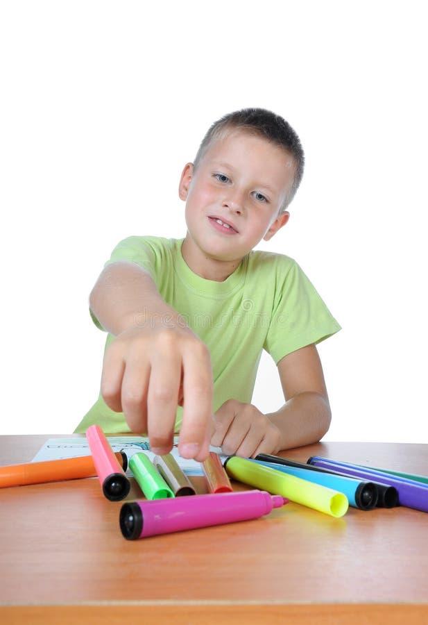 男孩蜡笔画纸张 库存照片