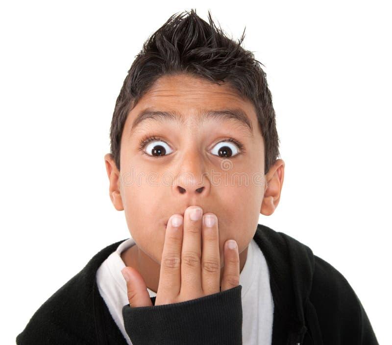 男孩讲西班牙语的美国人惊奇 图库摄影