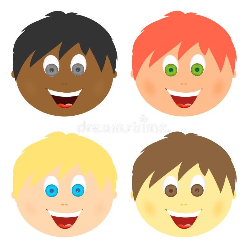 男孩设置了儿童与另外头发颜色和眼睛的` s面孔与与一张开放嘴的大微笑与舌头和白色牙 梳子 库存例证