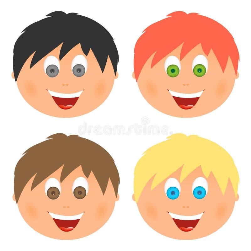 男孩设置了儿童与另外头发颜色和眼睛的` s面孔与与一张开放嘴的大微笑与舌头和白色牙 梳子 皇族释放例证