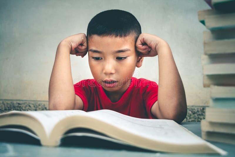 男孩读书获取更多知识 免版税库存照片