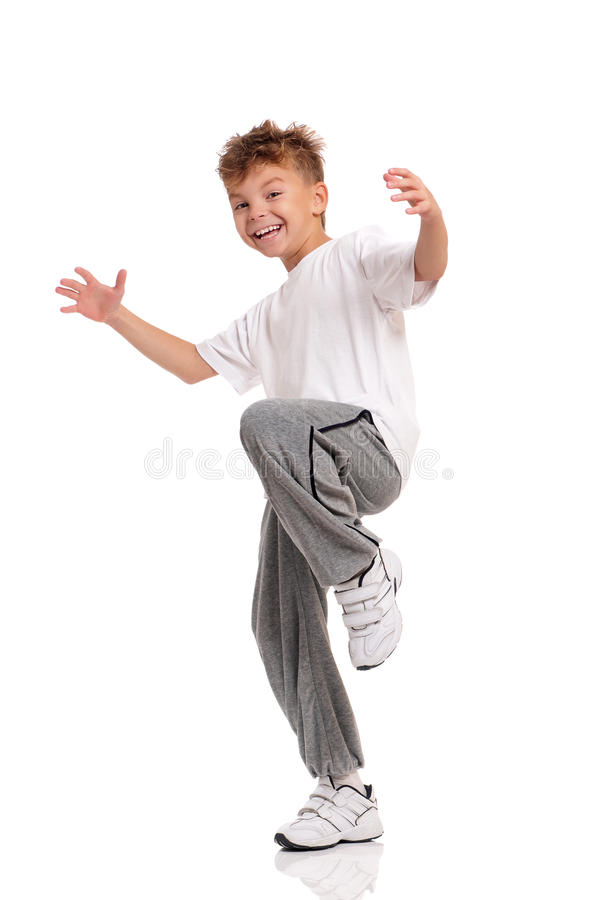 男孩跳舞 免版税库存图片