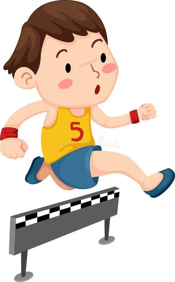 男孩跳跃的障碍 库存例证
