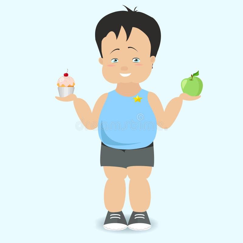 男孩选择一种健康生活方式肥胖孩子传染媒介动画片 向量例证