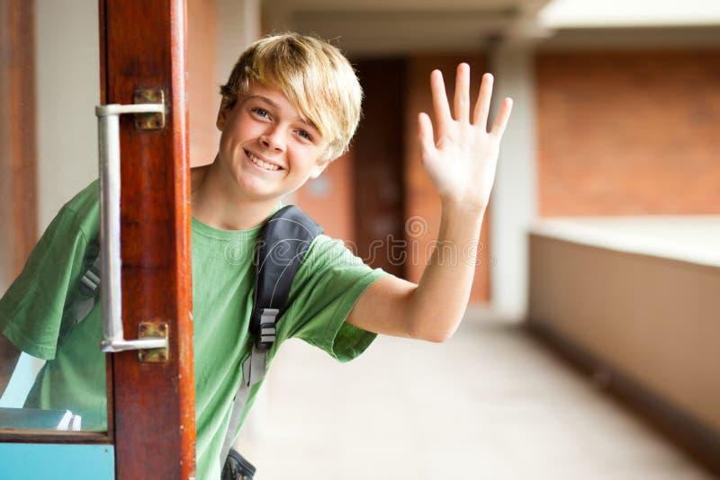 男孩逗人喜爱的学校 库存照片