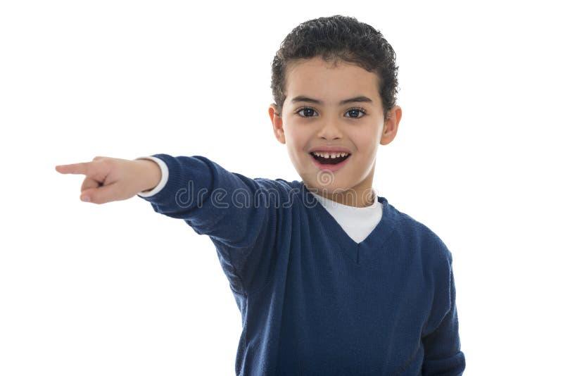 男孩逗人喜爱的指向的年轻人 库存图片