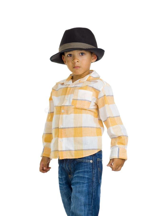 男孩逗人喜爱的欧亚帽子 免版税库存照片