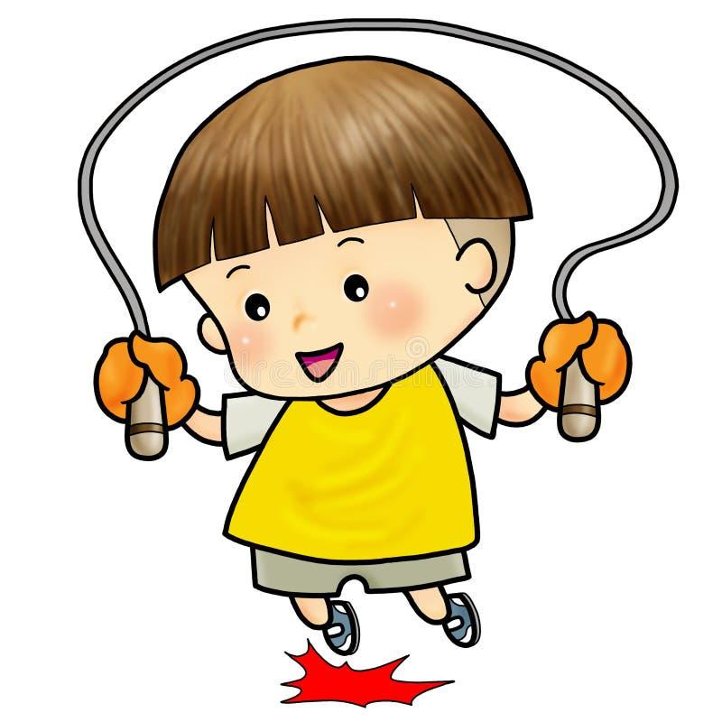 男孩逗人喜爱跳绳跳过 向量例证