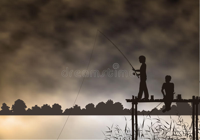 男孩钓鱼 库存例证