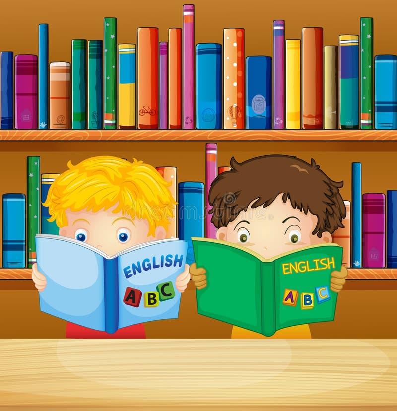 男孩阅读书在图书馆里 库存例证