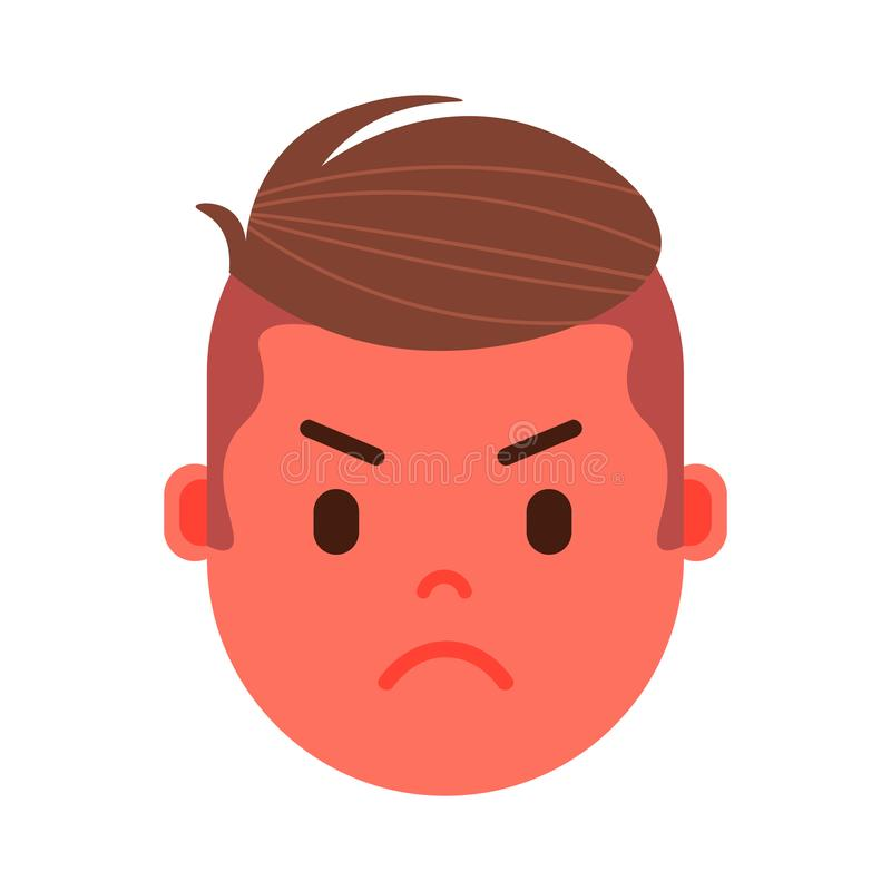男孩顶头emoji要人象激动面部,具体化字符,供以人员用不同的男性情感的恼怒的面孔 向量例证