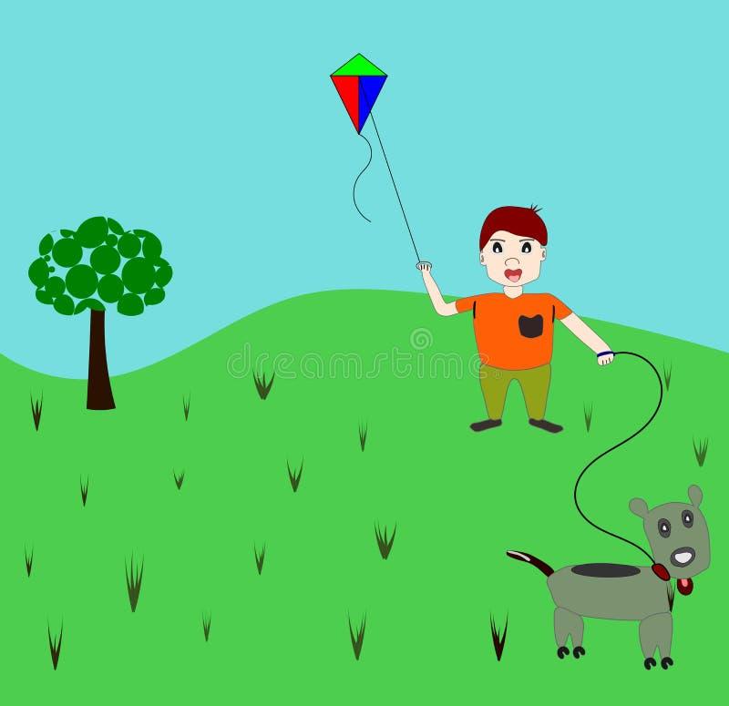男孩风筝小狗 向量例证