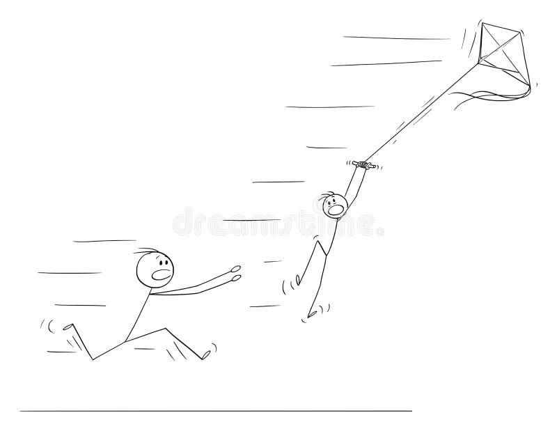 男孩飞行风筝传染媒介动画片和飞行在强风 父亲跑救他 库存例证