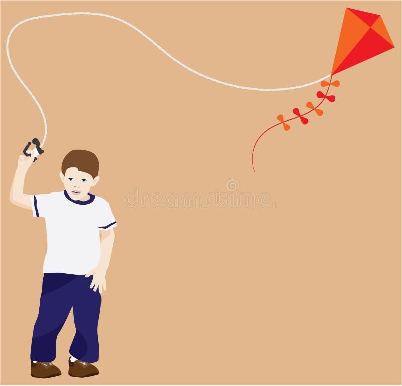 年轻男孩飞行风筝 向量例证