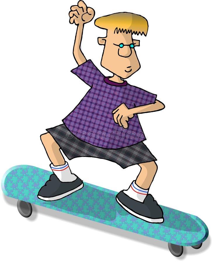 男孩骑马滑板 免版税库存图片