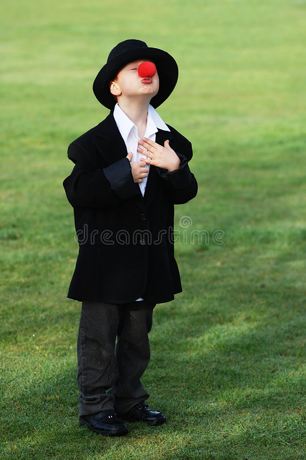 男孩鼻子红色 免版税库存图片