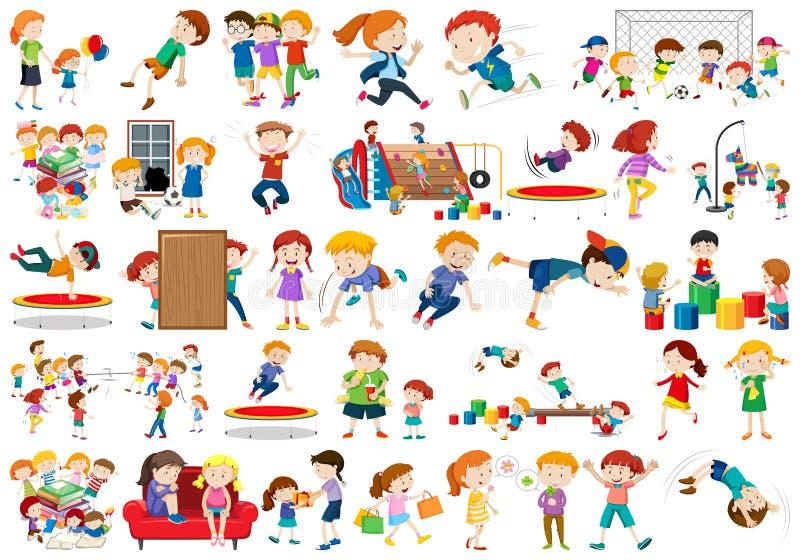 男孩,女孩,教育乐趣activty题材的孩子 向量例证