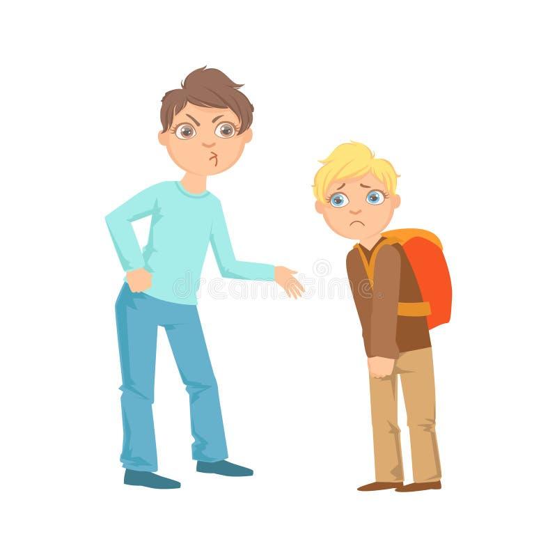 男孩从更加微弱的展示恶作剧无法控制的欠债行为动画片的孩子少年恶霸的Exorting金钱 库存例证