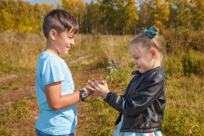 年轻男孩给女孩在自然的花在秋天 免版税库存照片