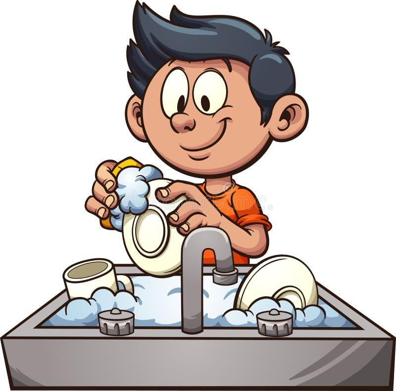 男孩洗涤的盘 库存例证