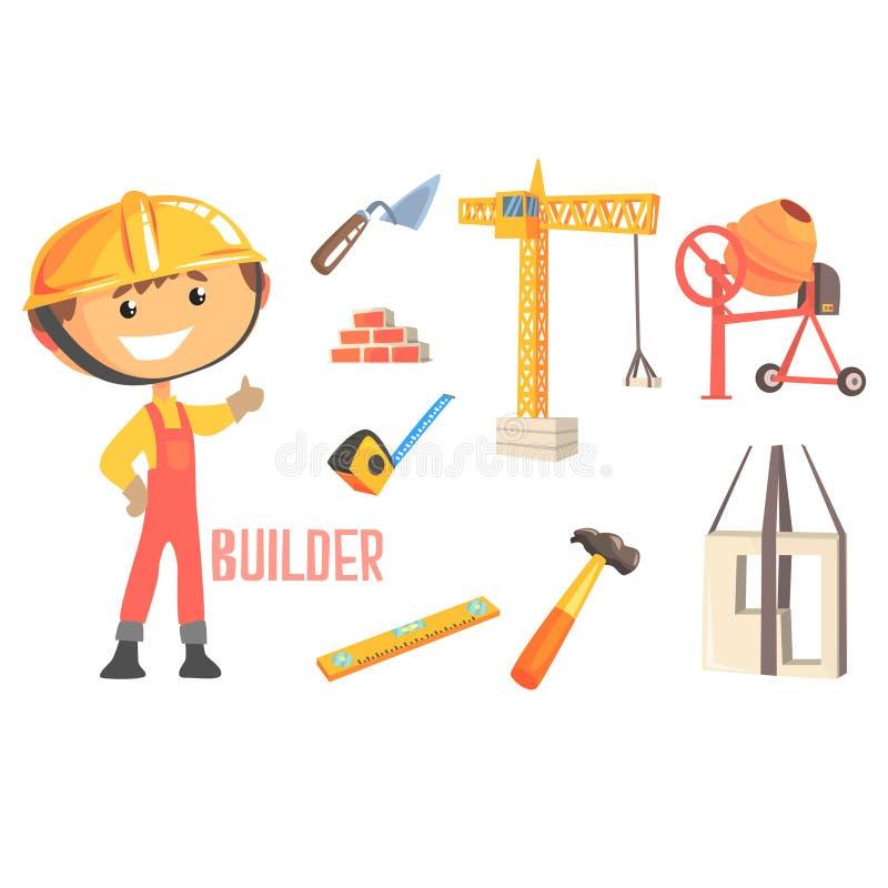 男孩建造者,与相关的孩子未来梦想建筑工人专业职业例证对行业 库存例证