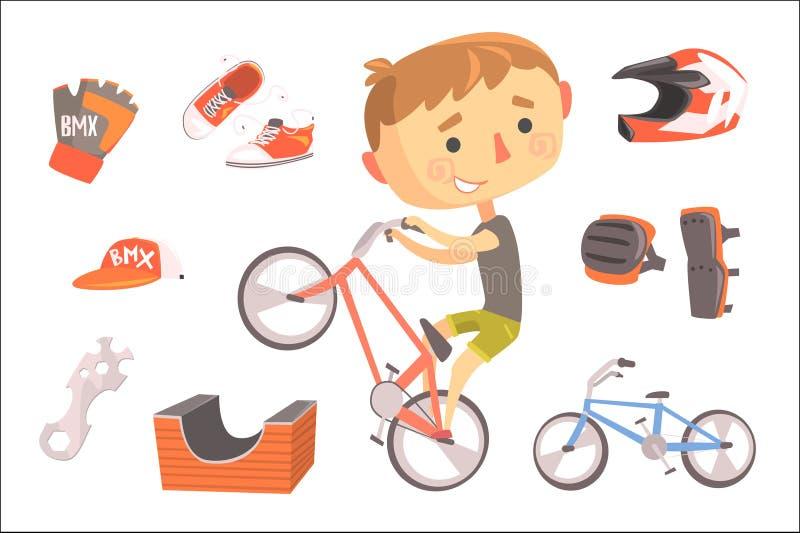 男孩BMX自行车车手,与相关的孩子未来梦想专业职业例证对行业对象 库存例证