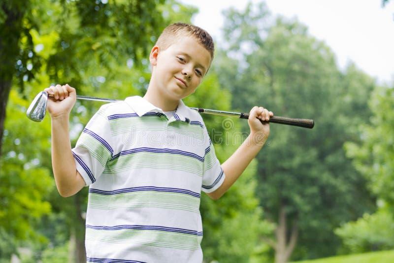 男孩clug确信的高尔夫球愉快的藏品年๙ 库存照片