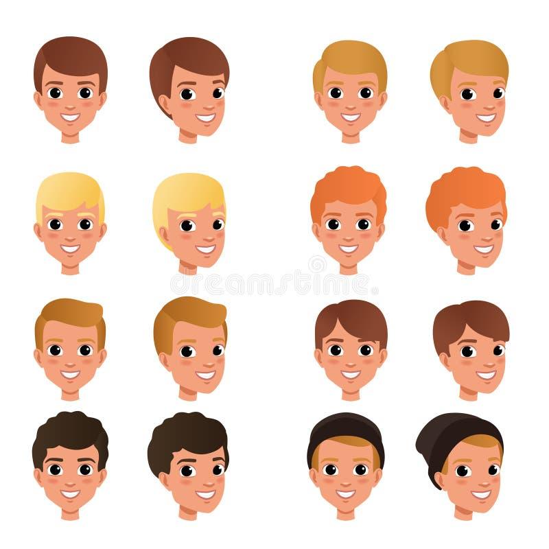 男孩s发型和颜色品种的动画片汇集  与微笑的面孔表示的孩子 人头象 平面 向量例证