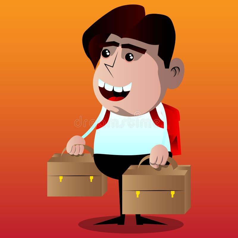 男小学生与两手提箱,去假期或假日 皇族释放例证