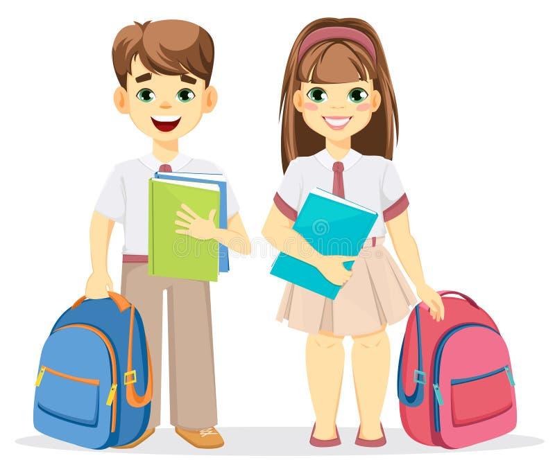 男小学生和女小学生有背包和课本的 库存例证