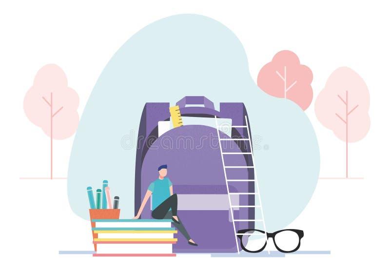 男小学生在学校背包附近休息坐书 库存例证