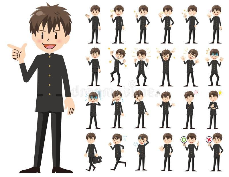 男小学生字符集 各种各样的姿势和情感 皇族释放例证