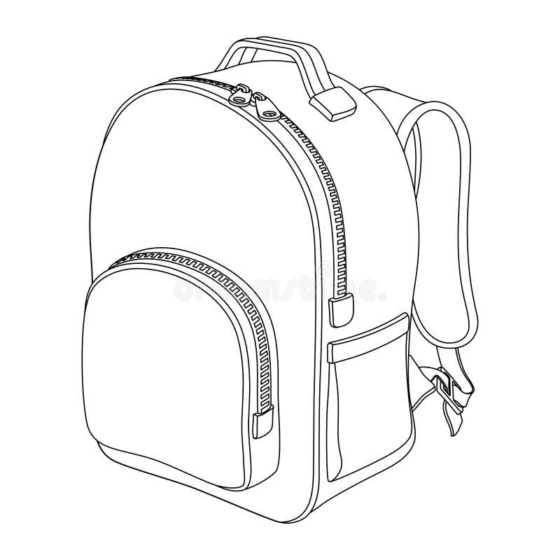 男小学生背包 黑白传染媒介外形图 库存例证