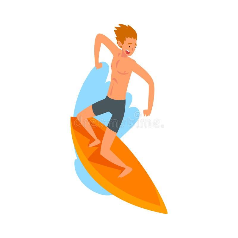 男性与冲浪板,夏天消遣海滩水上运动传染媒介例证的冲浪者字符乘坐的波浪 向量例证