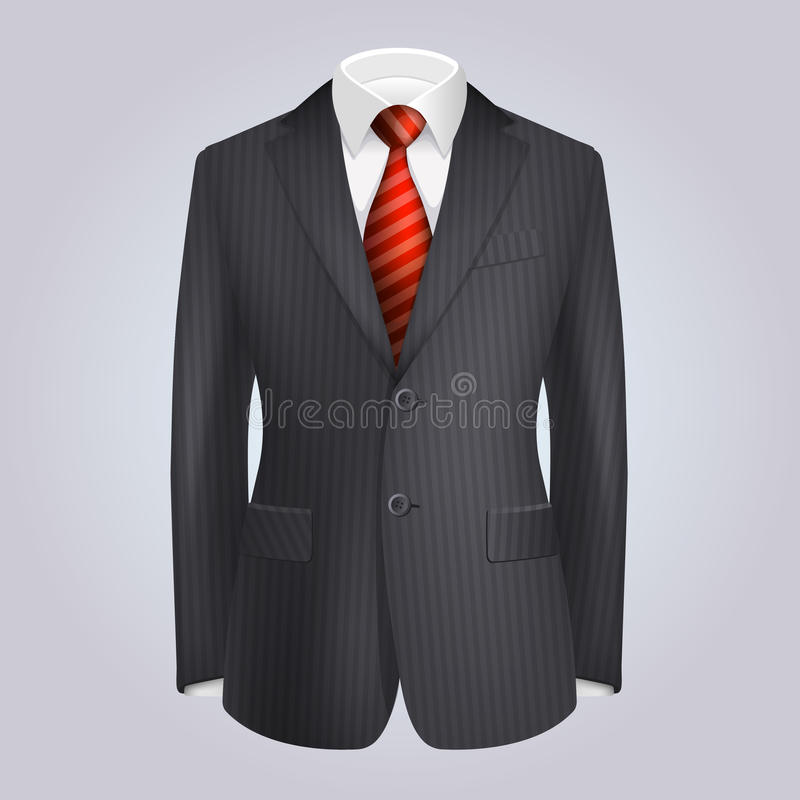 男性与红色领带的衣物黑暗的镶边衣服。传染媒介 皇族释放例证