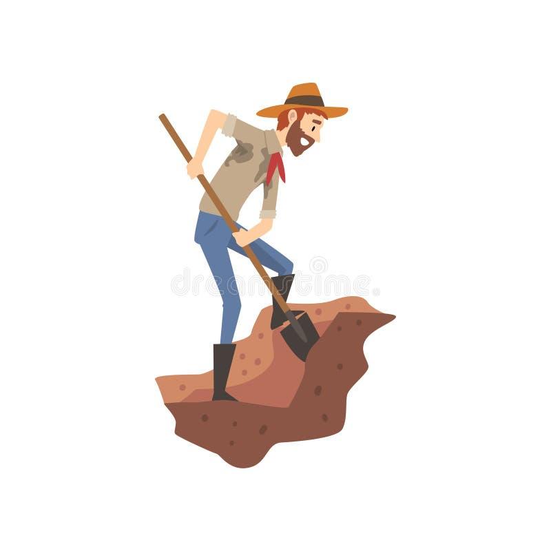 男性与铁锹,在挖掘传染媒介例证的科学家工作的考古学家开掘的土壤 库存例证