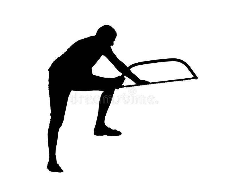 男性伐木工人锯切木头传染媒介剪影  向量例证