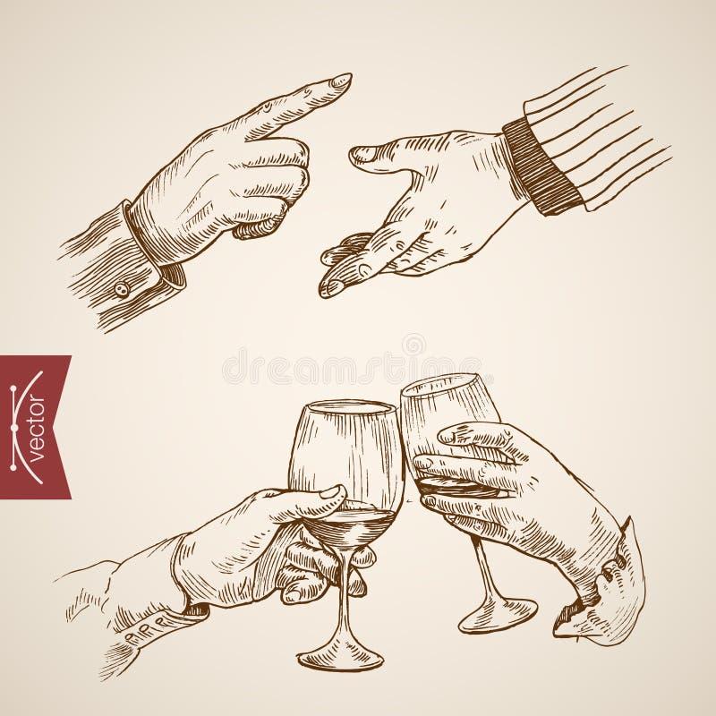 男性伸出延长的手叮当声板刻葡萄酒传染媒介 向量例证