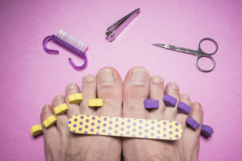 男性修脚,指甲锉,剪刀 库存照片