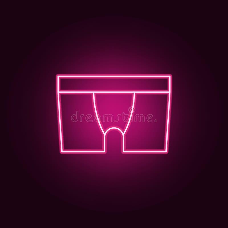 男性内衣象 衣裳的元素在霓虹样式象的 网站的简单的象,网络设计,流动应用程序,信息图表 库存例证