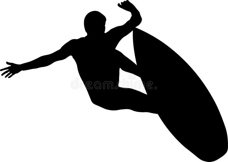 男性冲浪者和冲浪板剪影 向量例证