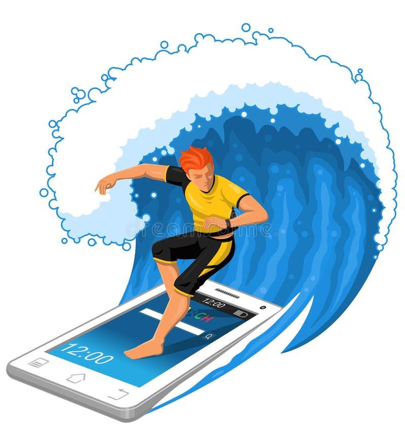 男性冲浪者在智能手机乘站立大的波浪 向量例证