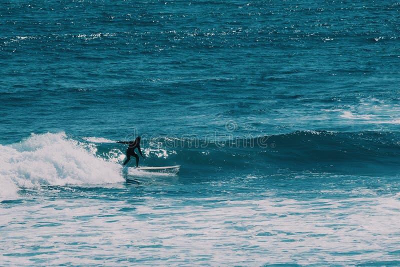 男性冲浪者在海洋,夏天背景概念 免版税图库摄影