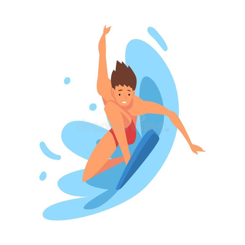 男性冲浪者字符乘坐的波浪,有冲浪板的,消遣海滩水上运动,享受暑假的人人 皇族释放例证