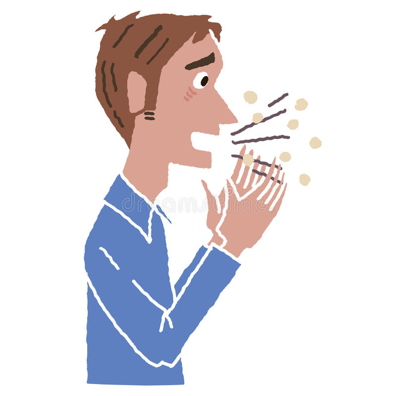 男性冷的咳嗽 库存例证