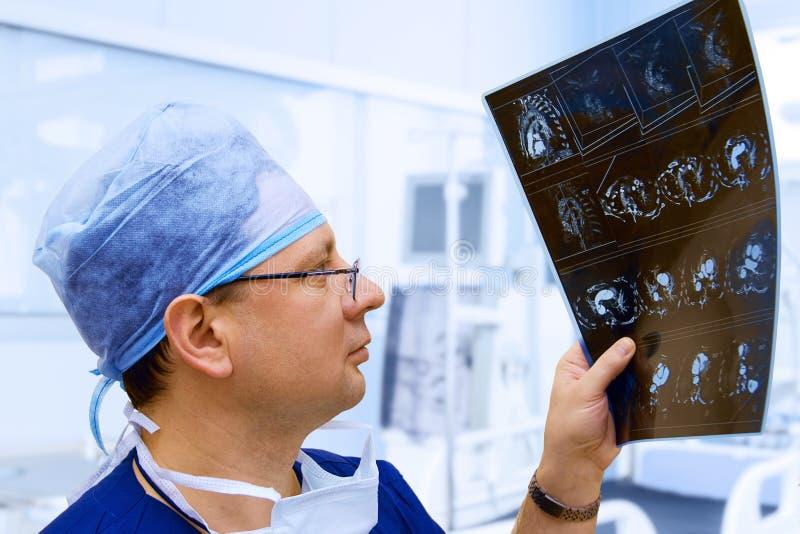 男性医生看胸CT扫描 免版税库存照片