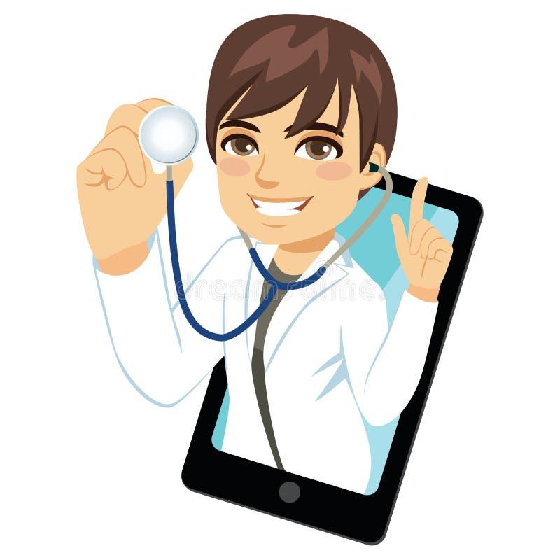 男性医生Smartphone Stethoscope 皇族释放例证
